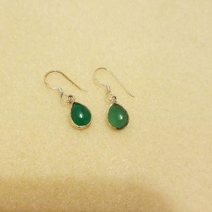 Green adventurine earrings in. 925 sterling silver